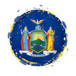 Round grunge flag of New York US state with splashes in flag color. - 200267722