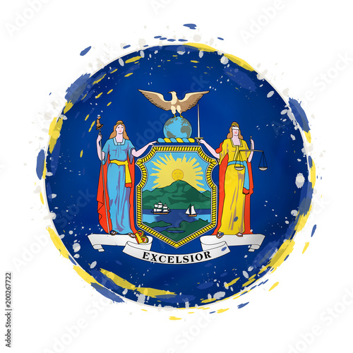 Round grunge flag of New York US state with splashes in flag color.