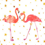 Watercolor illustration with a bird flamingo. Beautiful pink bird. Tropical flamingo on the gold stars background. - 200270590