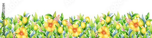 Background with watercolor yellow flowers. Useful for design of banners, cards, greetings and invitations. - 200272384
