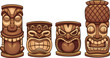 Cartoon tiki totems of different sizes. Vector clip art illustration with simple gradients. Each on a separate layer.