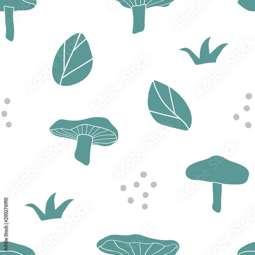 Forest seamless pattern. Hand drawn vector background with mushrooms and leaves