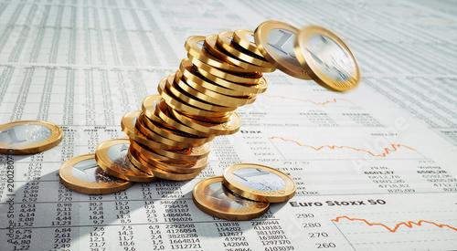 Kippender Stapel von Euromünzen