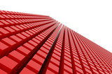 Perspective view of red color grossy cubes or boxes. Shape, pattern, dreamy, generative, style & backdrop. - 200281122