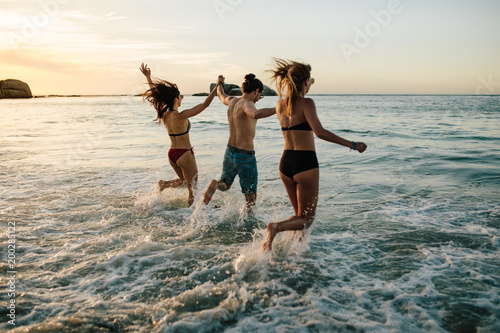 Friends having fun at the beach