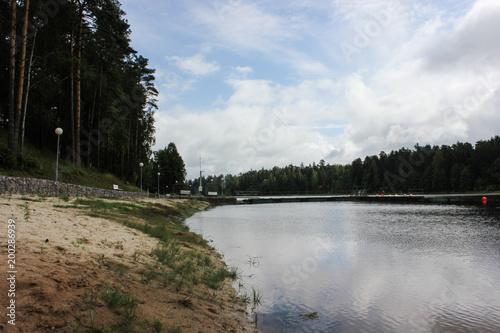 Fotobehang Blauwe hemel beautiful lake landscape with trees and herbs