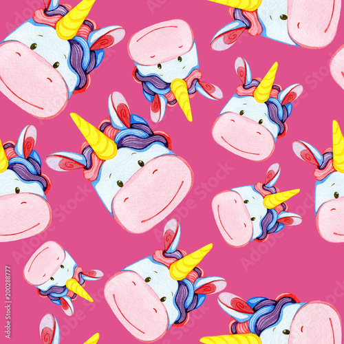 Cotton fabric Watercolor multicolored seamless pattern with unicorns on a pink background...