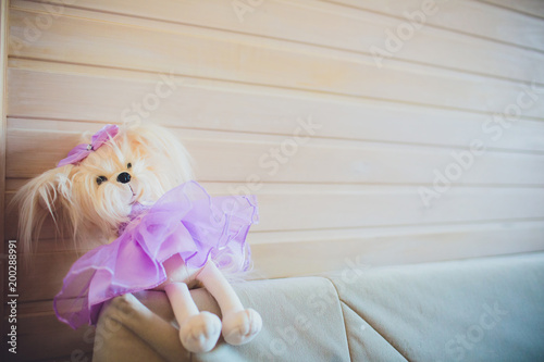 children's toy dog in a skirt sits on the edge of a sofa