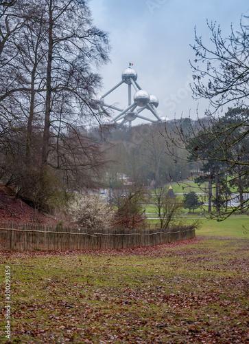 Fotobehang Brussel L'Atomium vu du parc de Laeken à Bruxelles