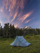 A pitched backpacking tent with Mt. Hood in background