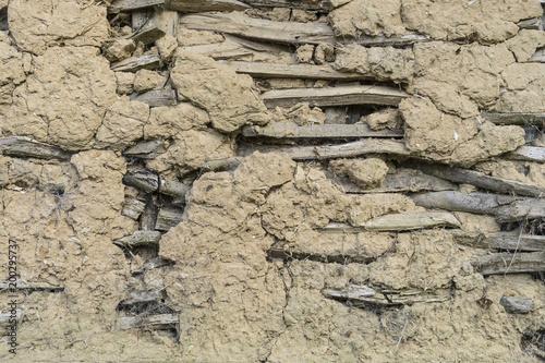 Fotobehang Baksteen muur Lehmmauerwerk