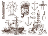 Boatswain with pipe. Lighthouse and sea captain, marine sailor, nautical travel by ship. engraved hand drawn vintage style. summer adventure. Seagoing vessel and rope knots. Boat wheel and anchor.