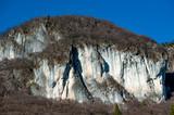 rocky coastline with sheer cliffs,
