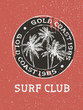 Surf club surfer stamp with hand drawn palm trees