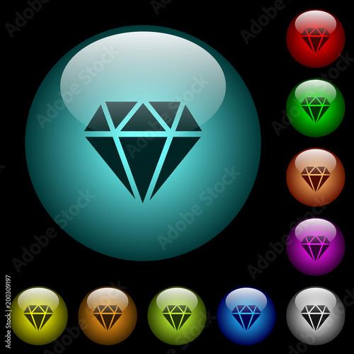 Diamentowe ikony w kolorach podświetlane przyciski ze szkła