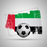 UAE flag soccer background with grunge flag, football pitch and soccer ball