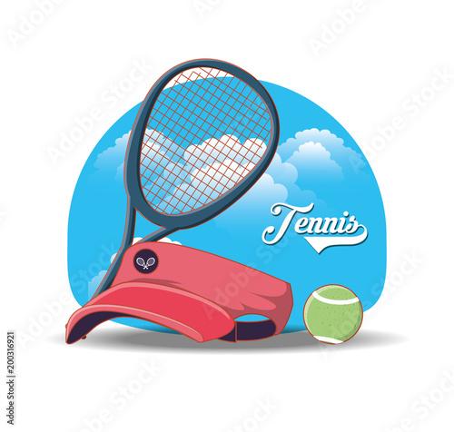 tennis sport cap icons vector illustration design