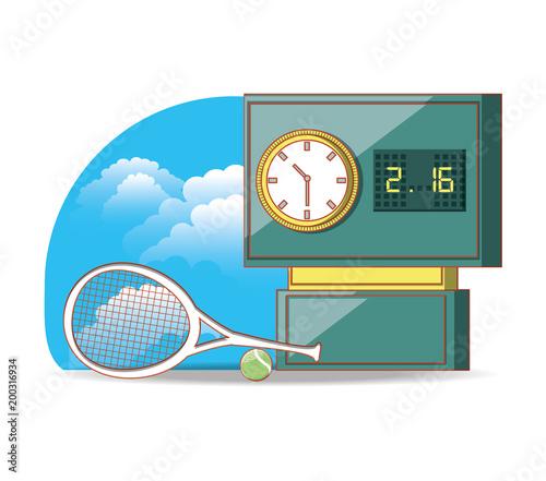 tenisowa tablica wyników z rakietowym wektorowym ilustracyjnym projektem