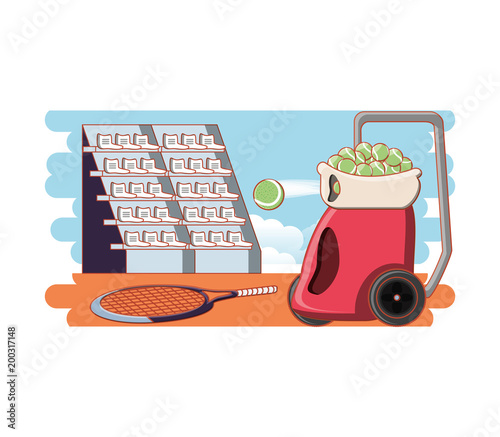 Fridge magnet tennis court game with racket and throws balls vector illustration design