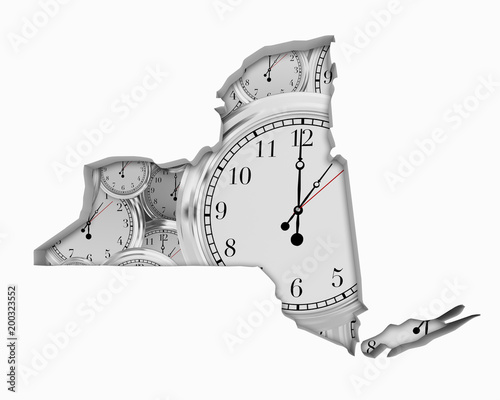 Foto Murales New York NY Clock Time Passing Forward Future 3d Illustration
