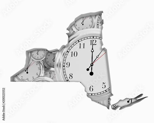 New York NY Clock Time Passing Forward Future 3d Illustration