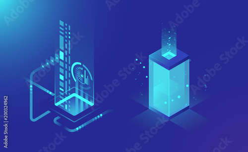 Data storage and processing, abstract technology elements, data flow, isometric server rack concept dark blue vector illustration
