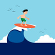 Surfer boy riding a wave in summer with sea landscape background flat design