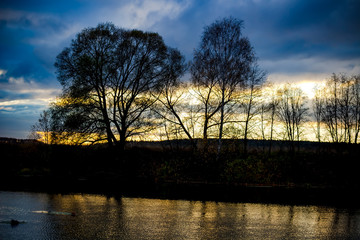 Sunset against the background of trees over the river