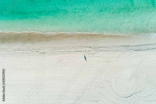 Keuken foto achterwand Tropical strand aerial views of summer beach scene with coastline turquoise waters and white sandy beach