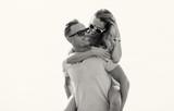 Black and white photo of happy couple - 200331954