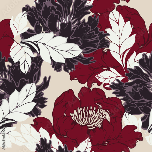 Abstract elegance pattern with floral background. - 200336347