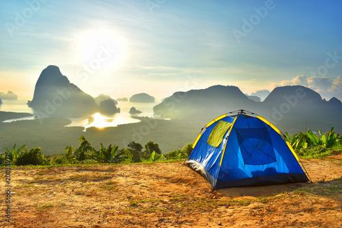 Foto op Aluminium Strand Camp Tent Stay Doi Mountain Sky Morning Sunrise Thailand