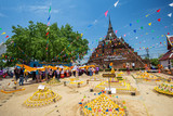 People attend a ceremony Cloth cover on Phra Chedi Luang and the Sand Pagoda for return the sand to the temple on Songkran festival wat Ratchaburana temple in Phitsanulok ,Thailand. April 9, 2018