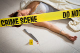 crime scene with woman in lingery dead - 200340505