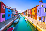 Venice landmark, Burano island canal, colorful houses and boats, Italy - 200340775