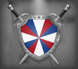 Dutch Flag The Prinsengeus. The Shield with National Flag. Two Crossed Swords. Medieval Background