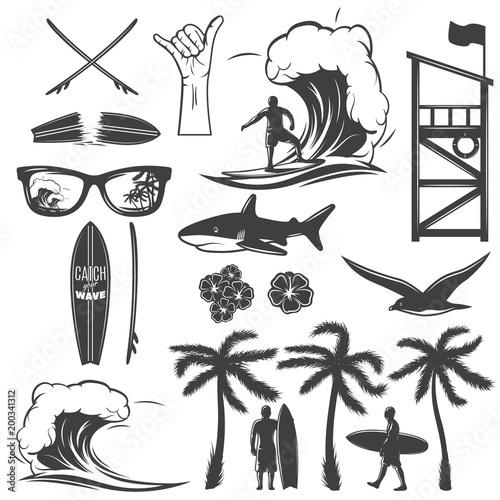 Fototapeta Surfing Black Icon Set