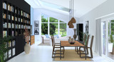 Wohn- und Essbereich mit großem Bücherregal - 200342342
