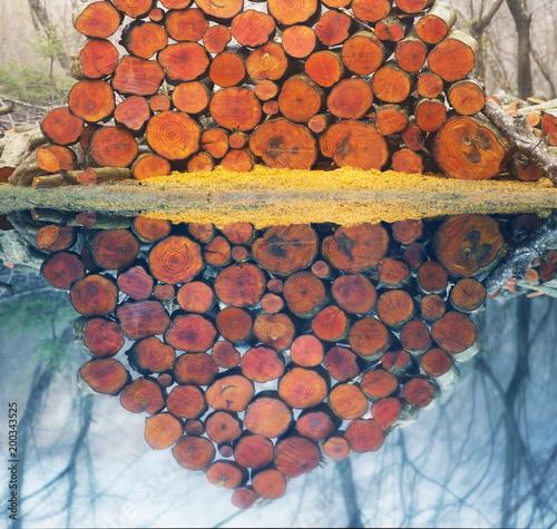 Fotobehang Baksteen Picturesque composition of firewood