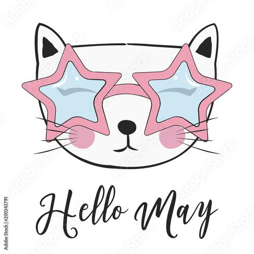 Foto op Plexiglas Retro sign hello may card