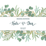 Floral greenery card template with eucalyptus branch. For wedding invitation, save the date, birthday, Easter. Vector illustration. Watercolor style - 200344388