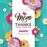 Happy Mother's Day greeting card design with beautiful blossom flowers - 200346124