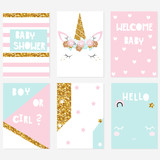 Set of cute pastel baby shower cards with unicorn and gold glitter elements. Vector hand drawn illustration. - 200348947
