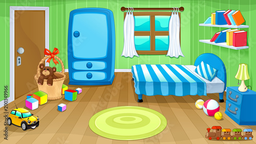 Foto op Plexiglas Kinderkamer Funny bedroom with toys