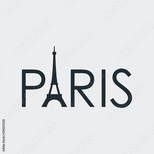 Tipografia PARIS con torre Eiffel en fondo gris
