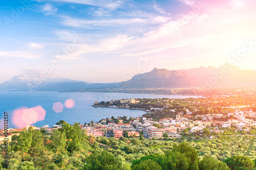 Plexiglas Palermo A view over small town of Porticello in the morning light, Sicily, Italy