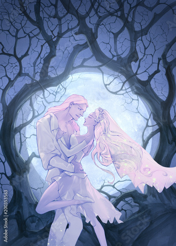 Beautiful anime cartoon wedding illustration of a young couple just married on an abstract background - 200353563