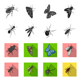 An insect arthropod, an osa, a spider, a cockroach. Insects set collection icons in black,flet style vector symbol stock isometric illustration web. - 200355101