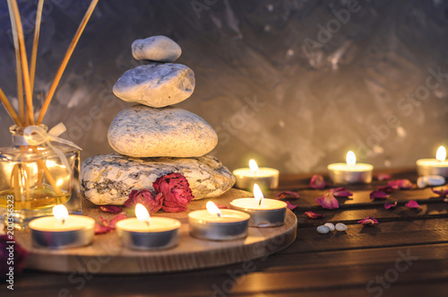 Foto op Plexiglas Spa Spa composition-stones, candles, aromatherapy, dry flowers.