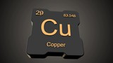 Copper element symbol from periodic table on futuristic black glossy icon animated on dark background and chroma key green screen background - 200362949